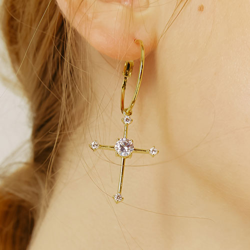 #332 CROSS RING EARRING[GOLD]