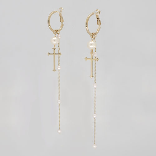 #347 PEARL ANTIQUE CROSS DROP EARRING